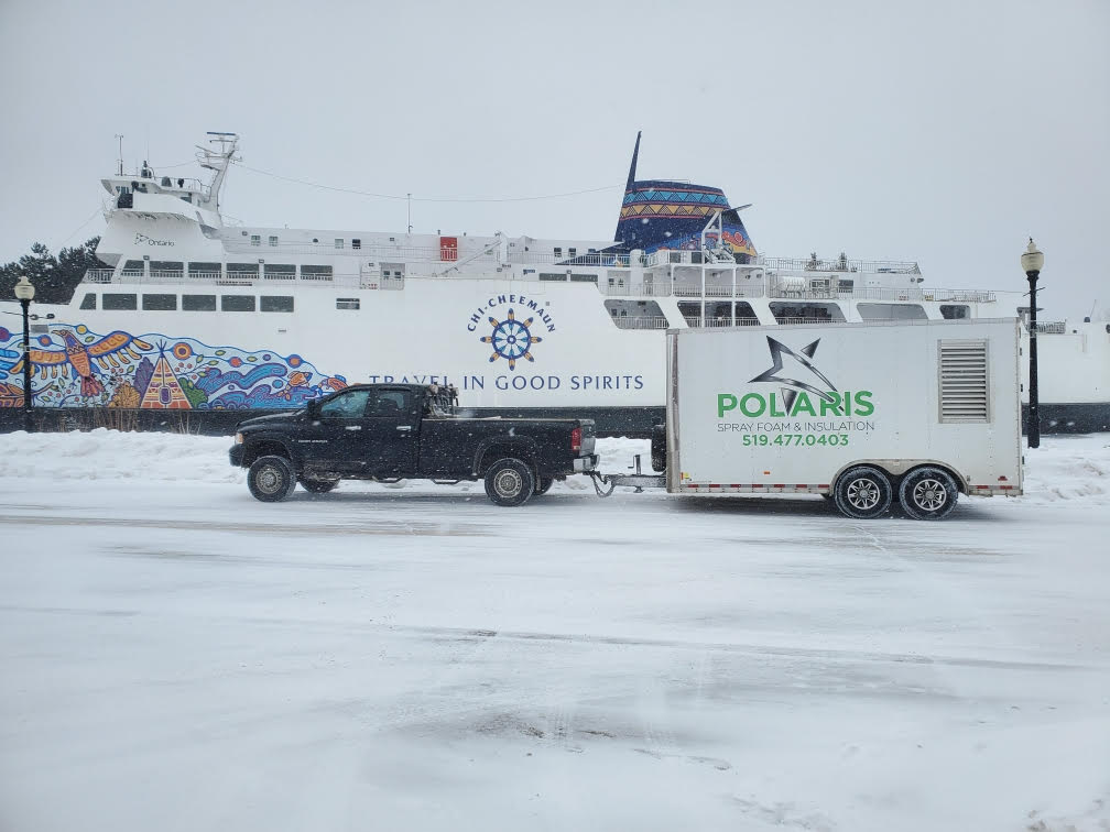 The Polaris truck is seen sitting in front of the iconic Chi-Cheemaun ferry in Owen Sound, Ontario